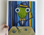 Greasy Kids Stuff: The Dapper Frog. Fun, Limited Edition Giclee Print, ready for framing.