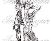 Amour Cupid Bow and Arrow  by Taessaert  downloadable image BW056