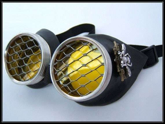 Dark Hive Motorcycle Goggles - Large Bee, Yellow Lens, Honeycomb Template