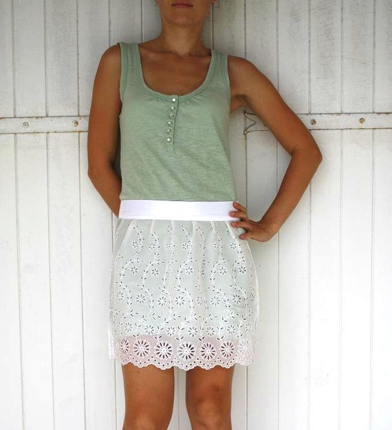 Vintage Style Half Apron Sexy apron , Vintage lace ,white ,mint , europeanstreetteam