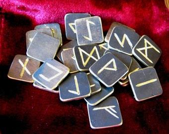 Rune Set. Metal Runes. Solid brass Elder Futhark runes