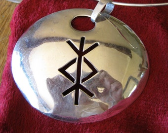 Rune Pendant.  Protection bindrune Sterling silver  Elder Futhark  pendant