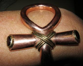 Ankh Bangle . Copper torque. Unusual, modern 3/4  copper ankh bangle