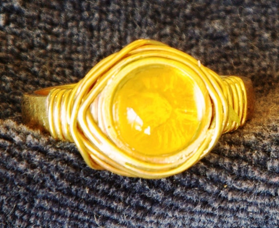 Citrine gemstone ring. Citrine ring, wire wrapped in brass
