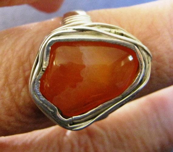 Carnelian in sterling silver ring