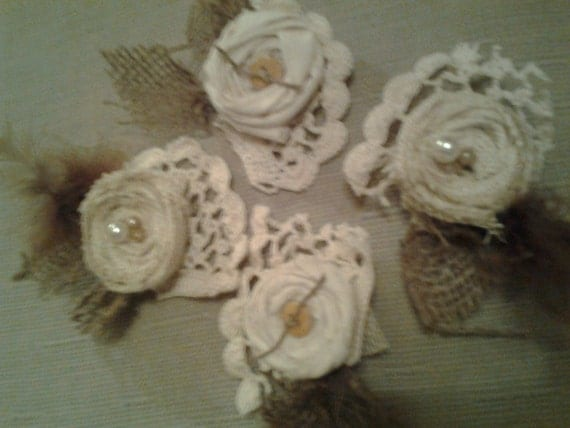 Burlap fabric flower corsage and boutineer package