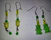 Two Pairs of Green and Yellow Spring Earrings