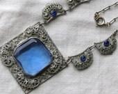 Art Deco Vintage/Antique Silver Filigree BlueFaceted Glass Necklace