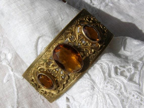 Art Deco Gold Filled Amber Glass Bracelet