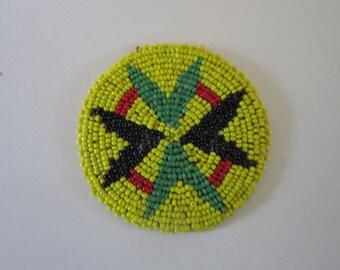Beaded Rosette Medallion Tribal Regalia Beadwork Craft 6A