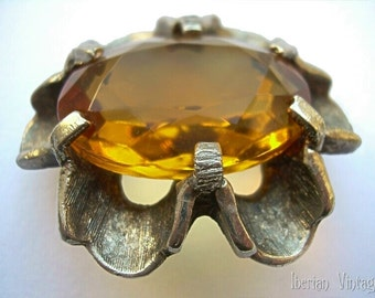Faux Citrine Amber Brooch / Pin, Silver Tone Setting