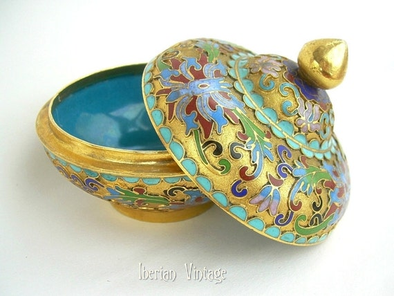 Reserved for Danielle -- Antique Cloisonne Chinese Trinket Box with Lid