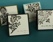 Hand Stamped Place Cards- Fancy Floral Collection