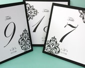 Reserved for Alexis- Damask Hand Stamped Table Numbers