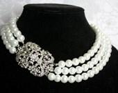 Vintage Inspired Pearl Bridal Necklace