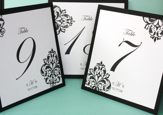 Damask Hand Stamped Table Numbers