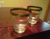Set of 2 Silver Rim Small Cocktail Glasses