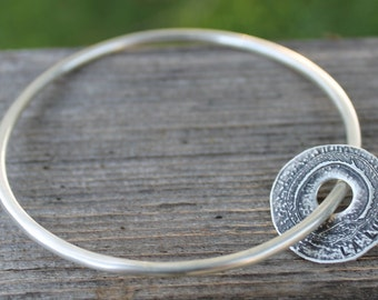 Sterling silver bangle with snake charm