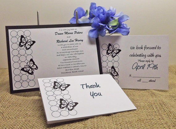 BUNDLE - Butterfly Bubbles design on flat sheet layered invitation, A7 white envelope, matching RSVP and Thank You Cards - Set of 50