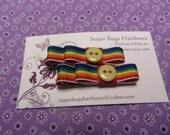 Handmade Rainbow Grosgrain Bow Tie Hair Clips Set of 2