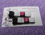 Handmade Black and White Grosgrain with Pink Flowers Bow Tie Hair Clips Set of 2