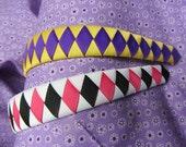 Woven grosgrain ribbon plastic headbands U pick Colors