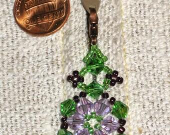 Beaded Zipper Pull in Lavendar-Blue & Green