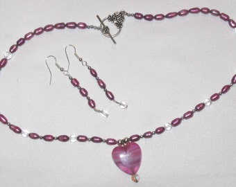 Pink Pearls & All Heart Necklace and Earring Set