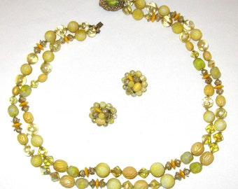 Spring Yellow Vintage Necklace & Clip-on Earrings