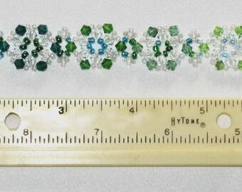Graduated Greens Beaded Snowflake Bracelet