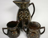 Japanese Redware Pitcher with Cream and Suger Set