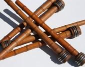 Six Vintage Wooden Bobbin Spindles