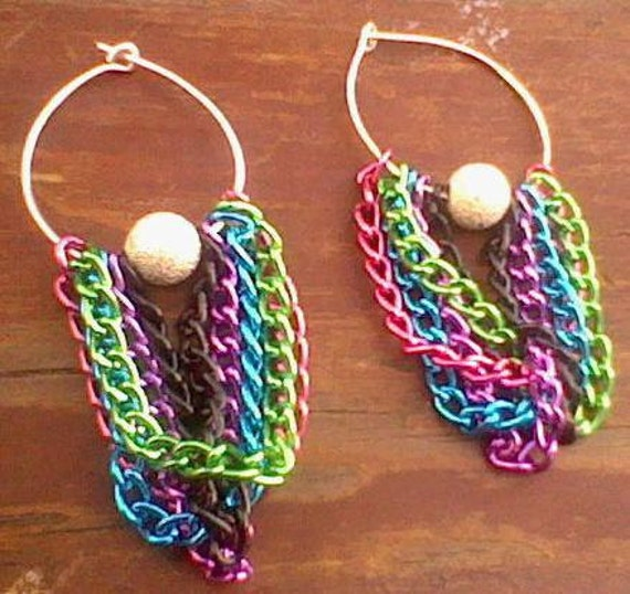 Rainbow Hoop Earrings Chains Stardust Beads Silver Pink Green Blue Purple Black Dangle Colorful Colourful Jewelry Jewellery OOAK