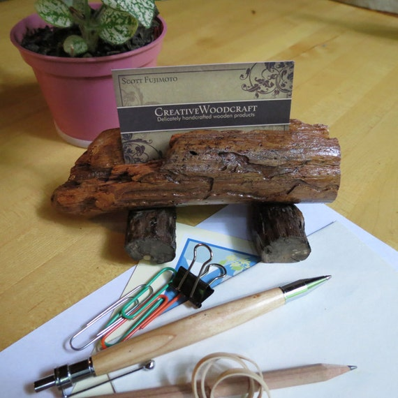 Business card holder - Wooden Rustic cardHolder - Office accessories Decor - Salvaged