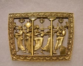 Antique Green Gold Egyptian Picturesque Brooch