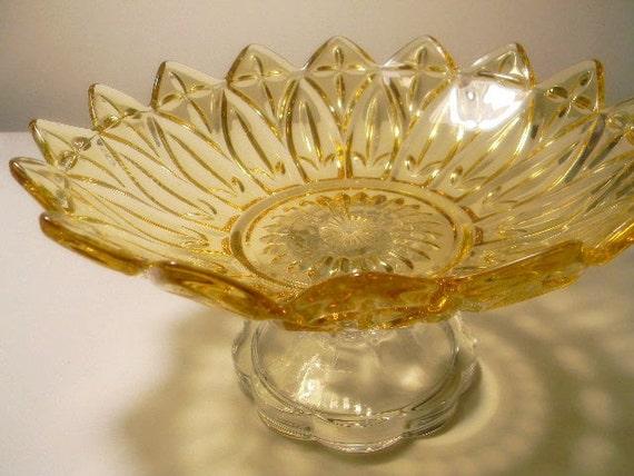 Vintage Wedding Centerpiece / Candy Dish Bowl Pedestal Candy Buffet Stand / Yellow Gold Cupcake Stand