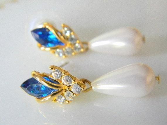 Fancy Blue Navette Cut Crystal Earrings w/Faux Drop Pearls