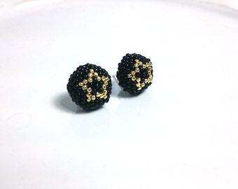 Gold Star Black Stud Earring
