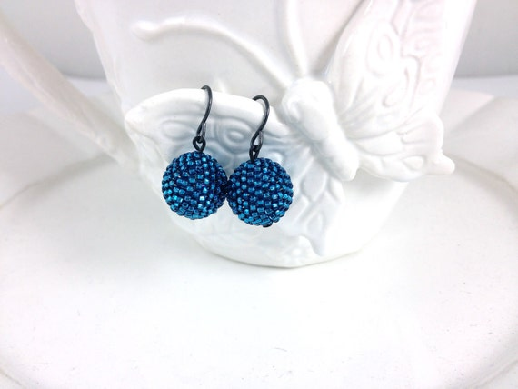 Metallic Blue Beaded Bead Earrings