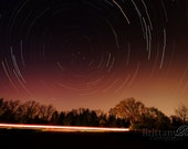 Sit and Watch the Stars Pass Us By, Star Trails over Highway, Fine Art Photographic Print - 8x12