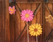 Lovely Flower Garden Stake with an Attached Butterfly