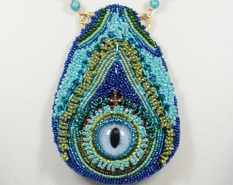 Bead Embroidery Necklace, Peacock Feather Statement Necklace
