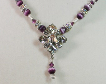 Yesterday and Today Necklace in Faceted Purple Cat Eye Beads