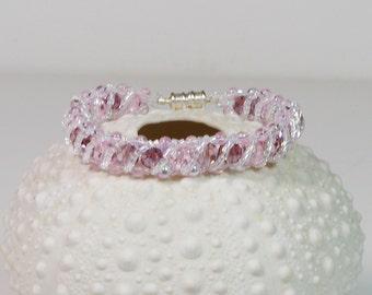 Pink Bracelet Crystal Bead Weaving