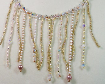 Pearls and Crystal Fringe Necklace