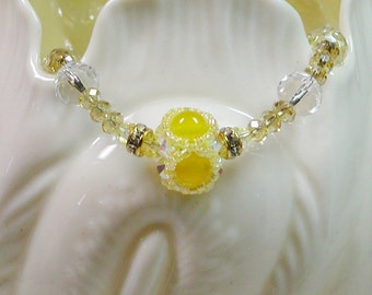 Beaded Bead Crystal Yellow Bracelet