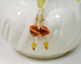 Orbit Wire Wrapped Earrings in Orange and Amber