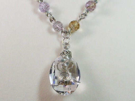 Crystal Necklace Wire Wrapped Amethyst and Citrine