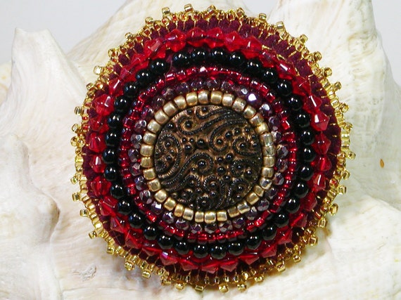 Cherry Red Beaded Brooch
