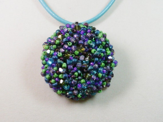 Beaded Cluster Necklace and Brooch on Adjustable Leather Cord